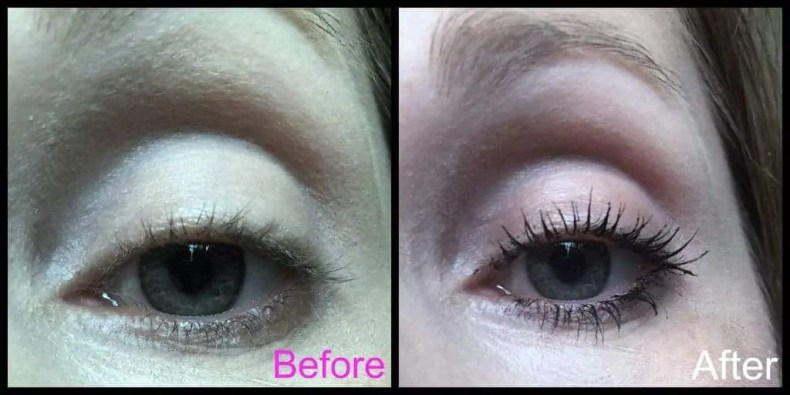 Get the ultimate false lash look with Smashbox Super Fan Fanned out mascara before and after