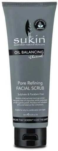 ultimate skincare products for oily skin sukin oil balancing + charcoal pore refining facial scrub