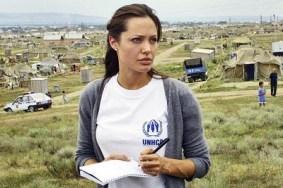 Jolie at refuge camp