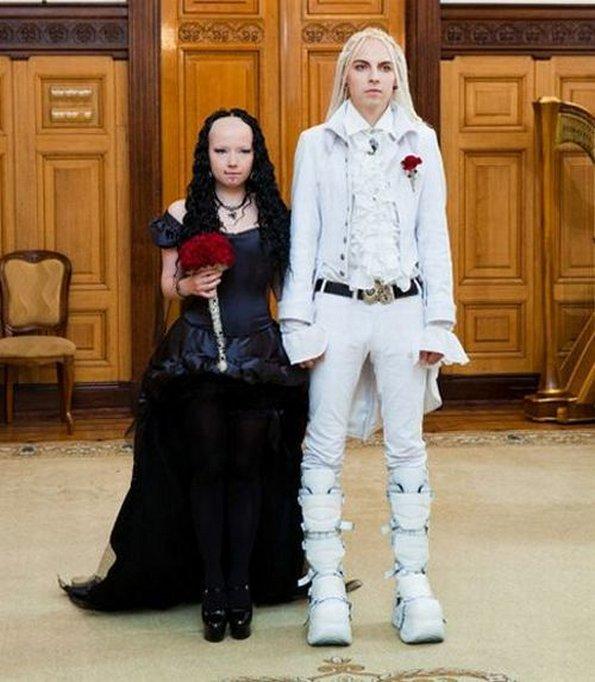 bizarre wedding young couple