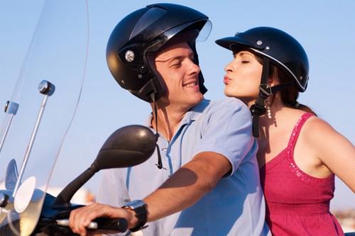 happy couple motorcycle