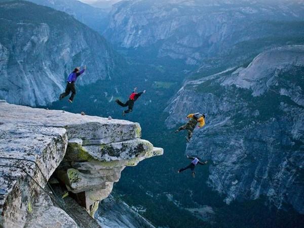 Base jumping in Yosemite.