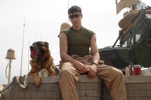 Dustin J. Lee with Lex in Iraq
