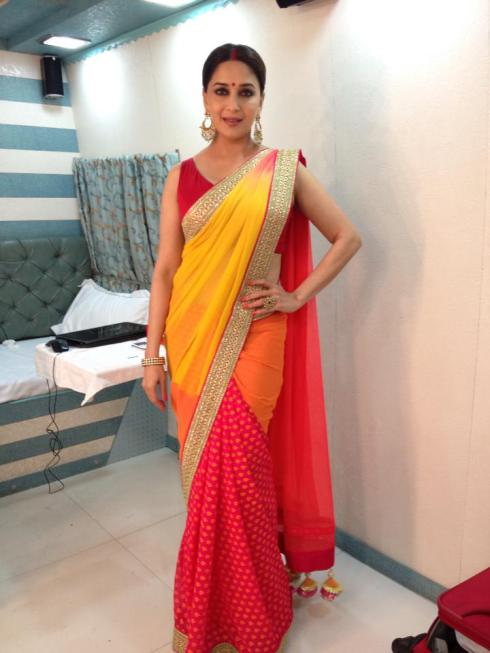 Madhuri Dixit Saree Red and Yellow