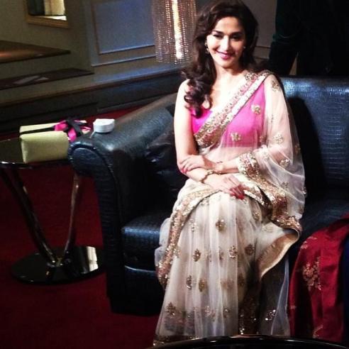 Madhuri Dixit Saree White