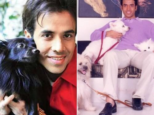 Tusshar Kapoor with dog