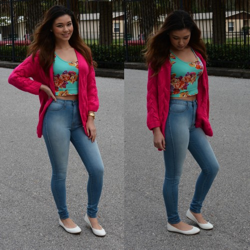 Cropped top and Cardigan