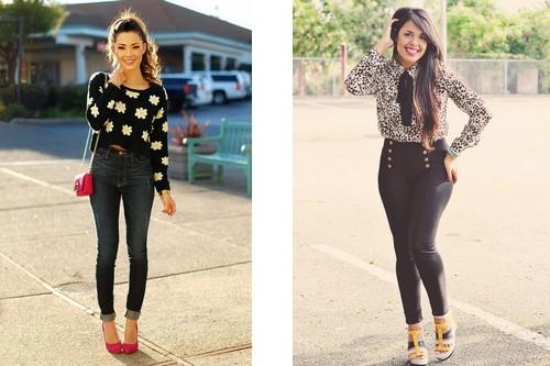 Sweater with high waist pants