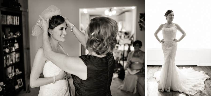 Mom helps bride put on the finishing touches