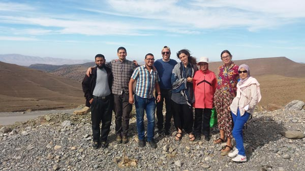 The community researcher workshop team. From left to right: Hamid (community researcher), Omar (owner of Marrakech Organics), Soufiane (fieldwork coordinator), Ugo, Irene, Touda (community researcher), Angela, Fadma (community researcher).