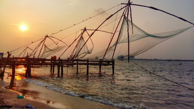 Sunset over Fort Cochin's Chinese fishing nets