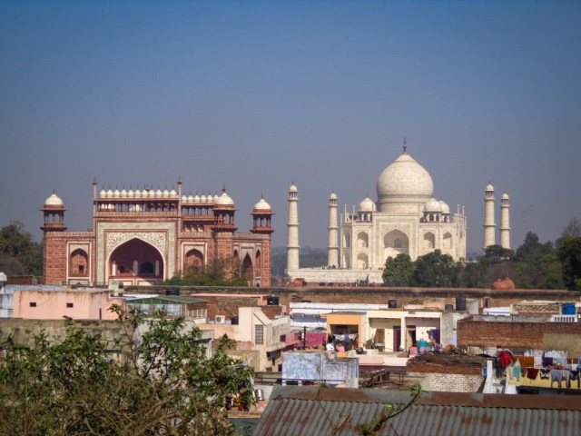 The Taj Mahal over the dusty rooftops of Agra