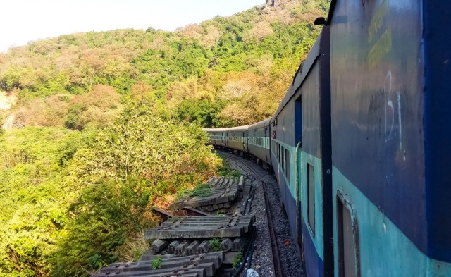 Taking the train from Goa to Hampi crosses over the Western Ghats and over Dudhsagar waterfall