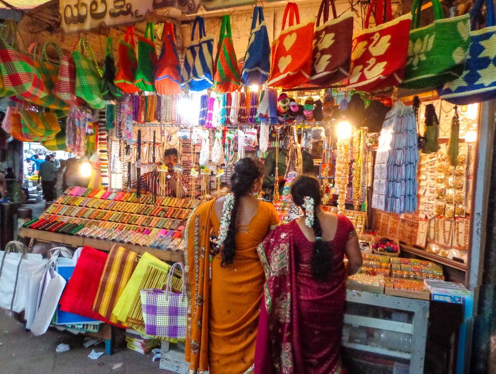 Haggling for bangles in the market