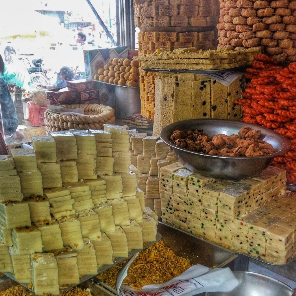 Mysore Pak in the guru Sweet Mart, Devaraja Market, Mysore