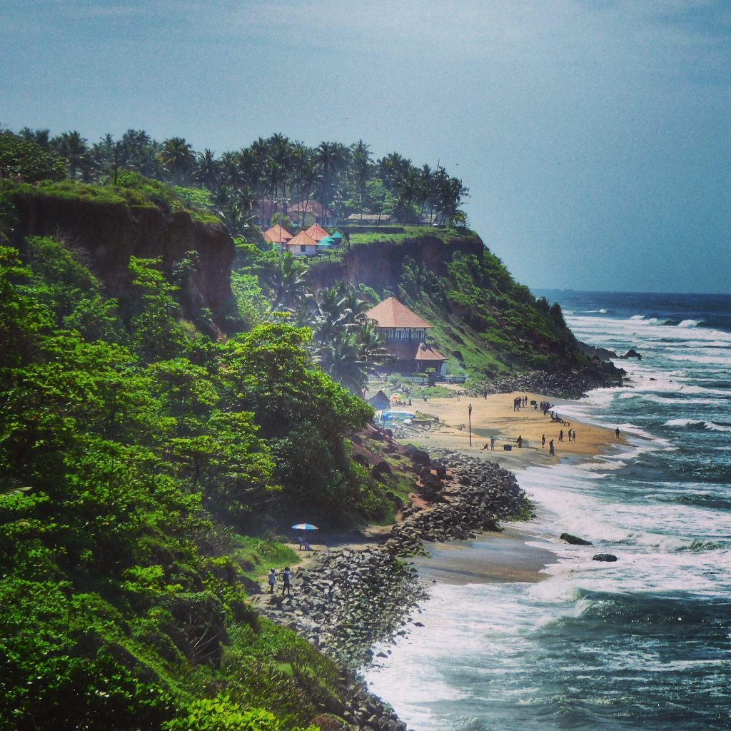 Looking down from the cliff to the Janardhana Temple on the Varkala beach.