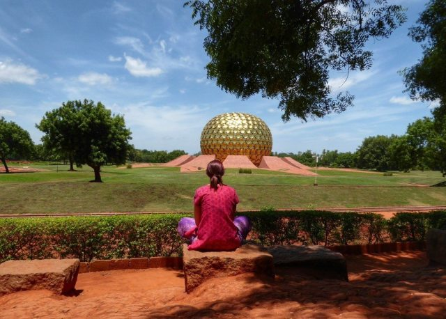 Feeling reflective at Auroville, Tamil Nadu