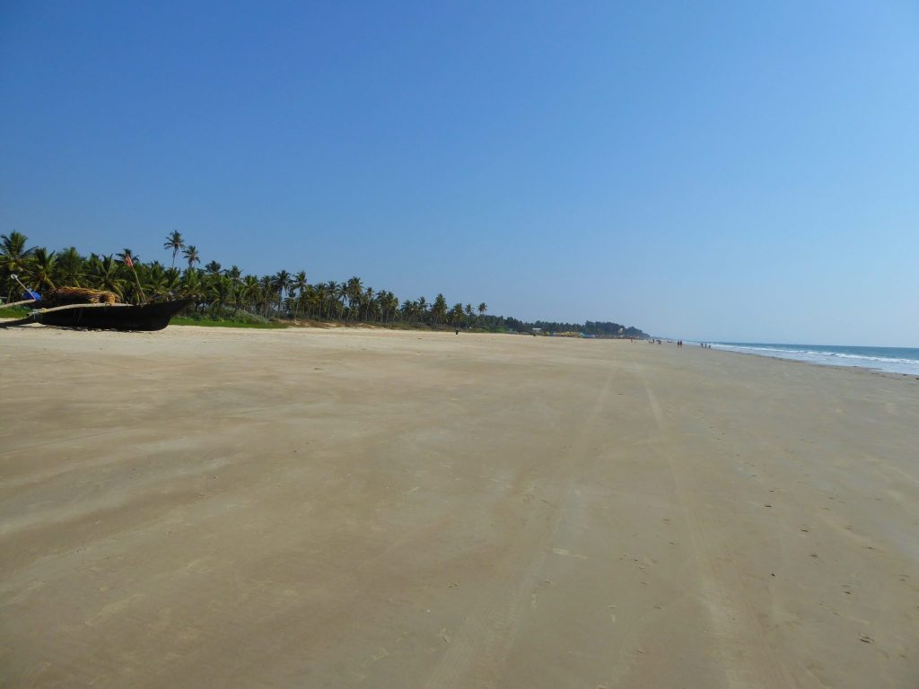 Pristine Utorda Beach outside Planet Hollywood Goa