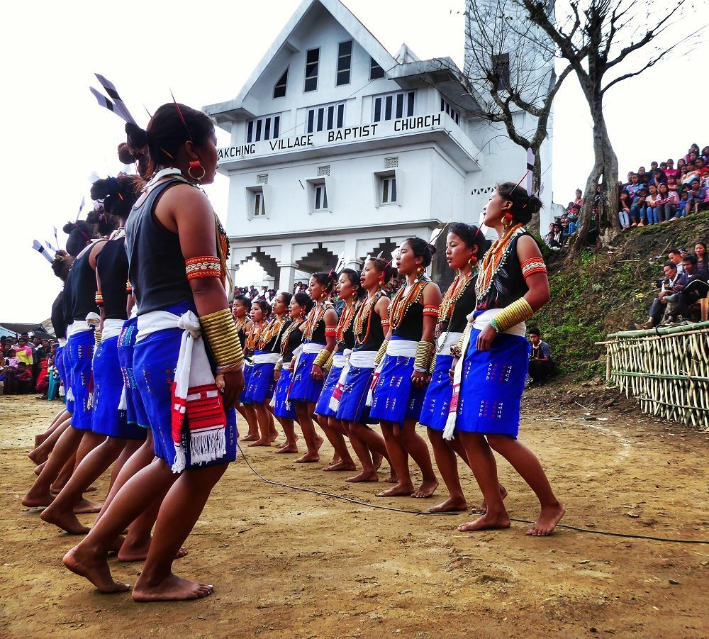 Konyak women dancing for the Aoling Festival in Wakching, Nagaland