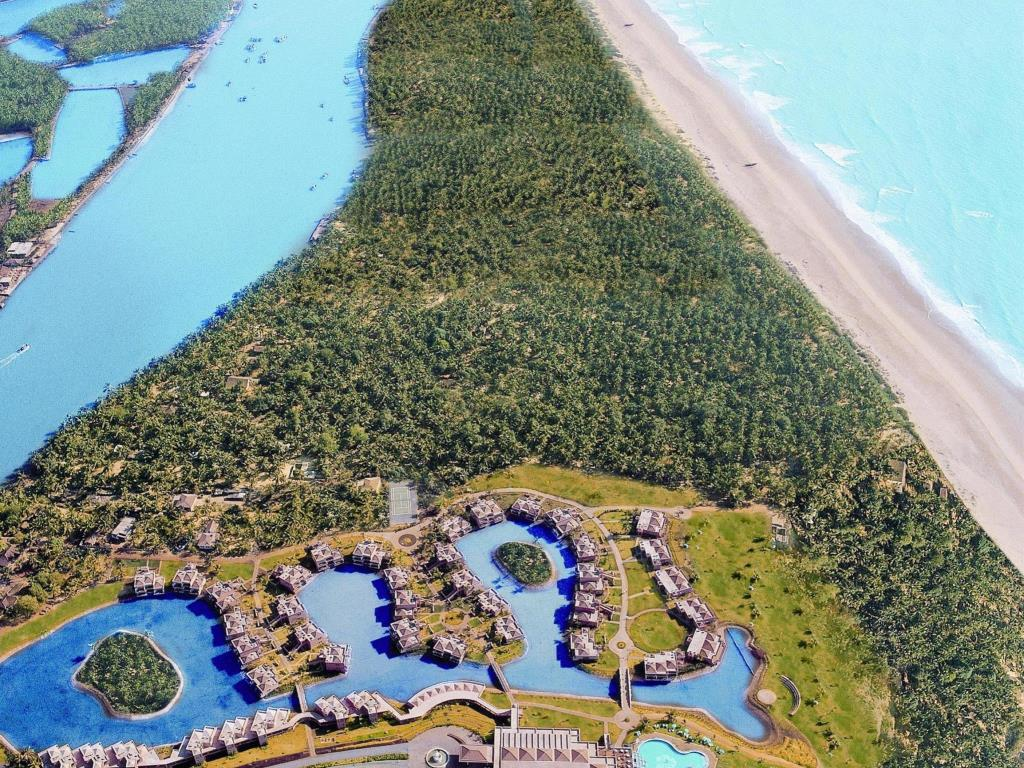 overhead view of the leela probably the most famous luxury resort in goa