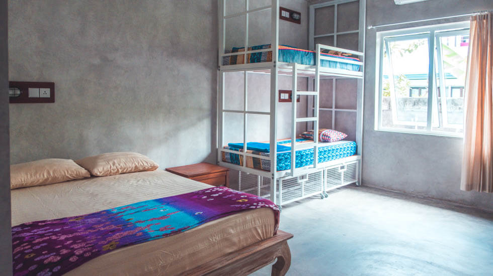 This private 4 bed dorm room is great for families and groups of friends at bali bobo hostel