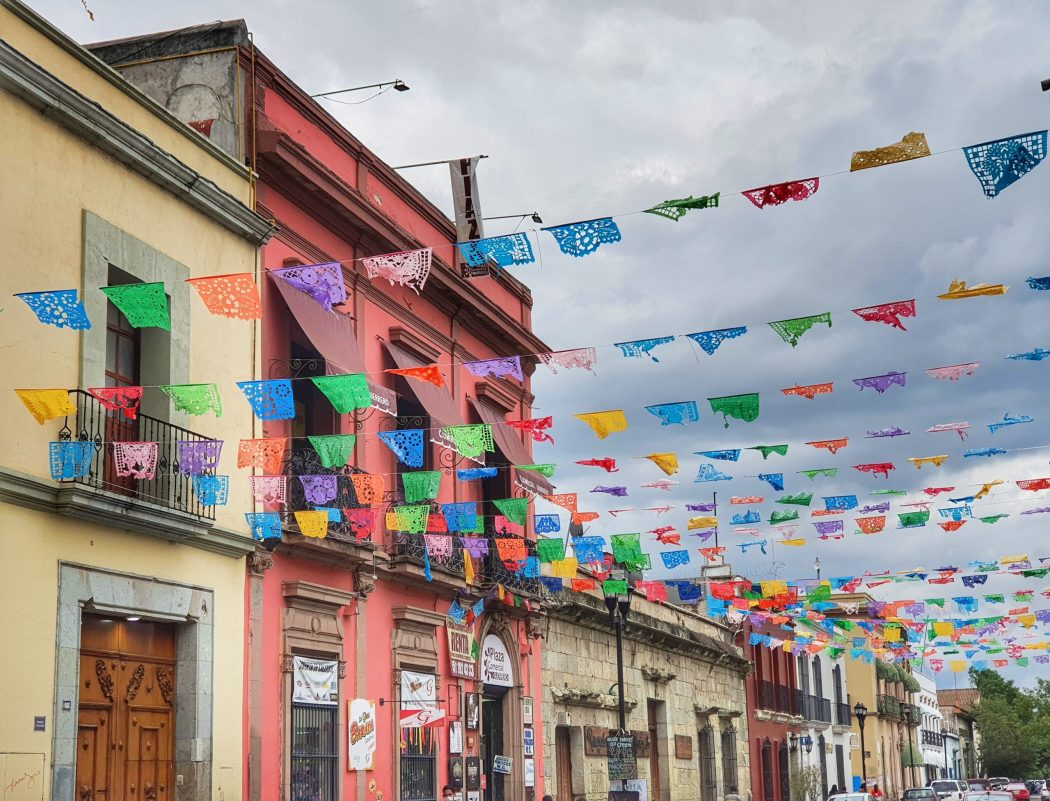 colourful flags Oaxaca mexico