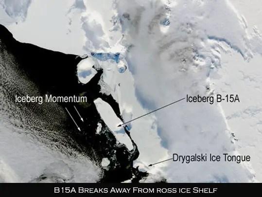 B15A Iceberg breaks away from Ros Ice Shelf