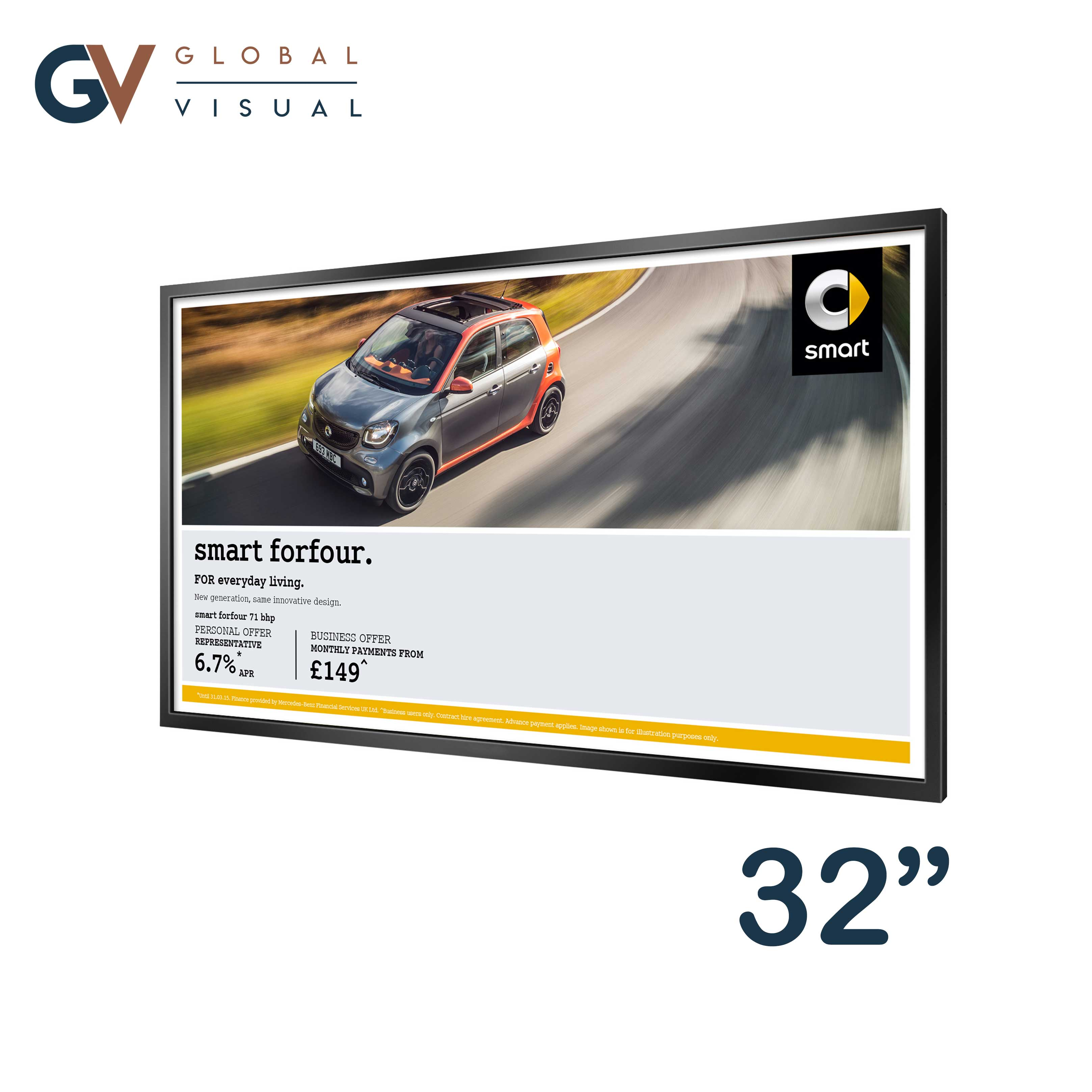 "Image showing a 32"" high brightness monitor"