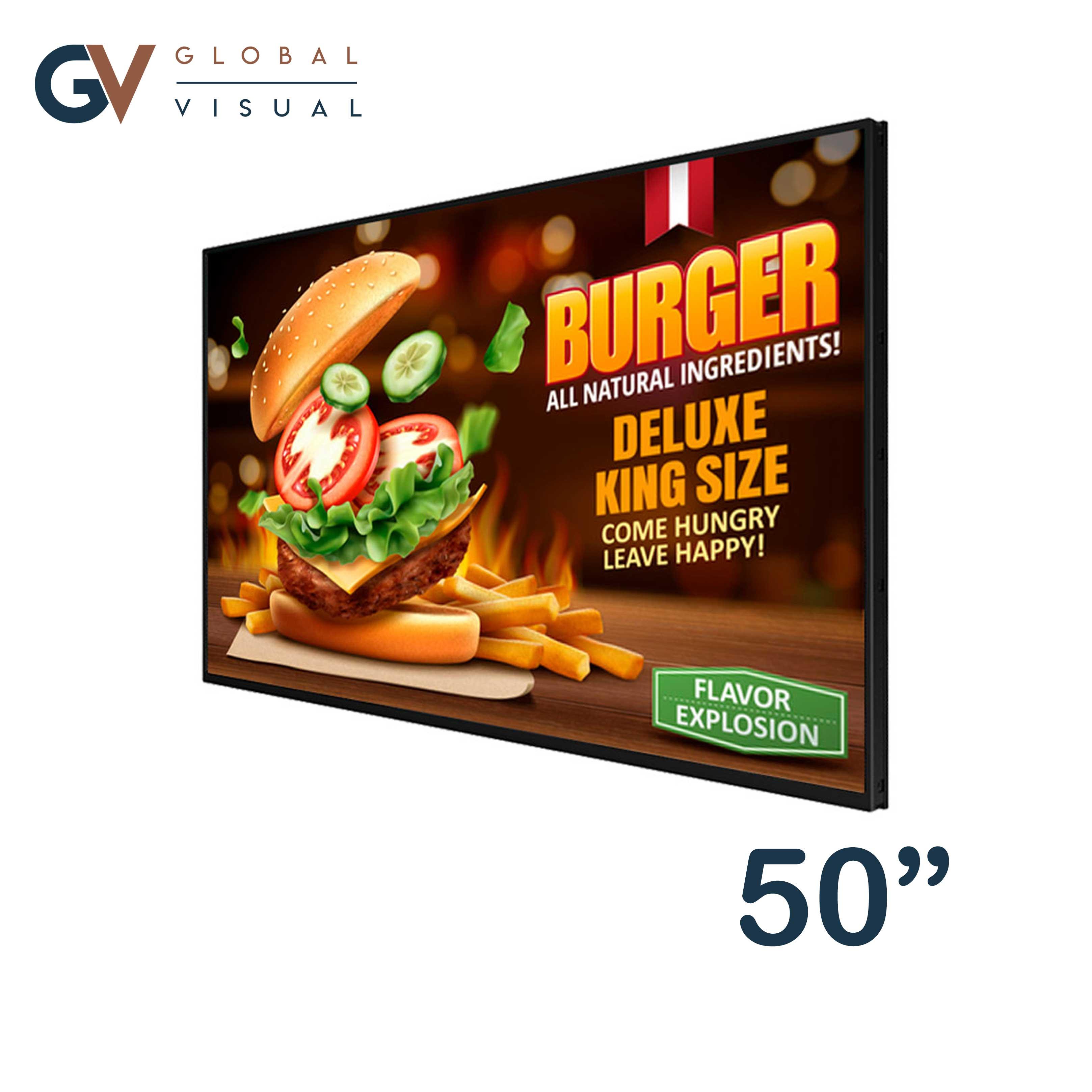 """Image of a 50"""" digital menu screen"""