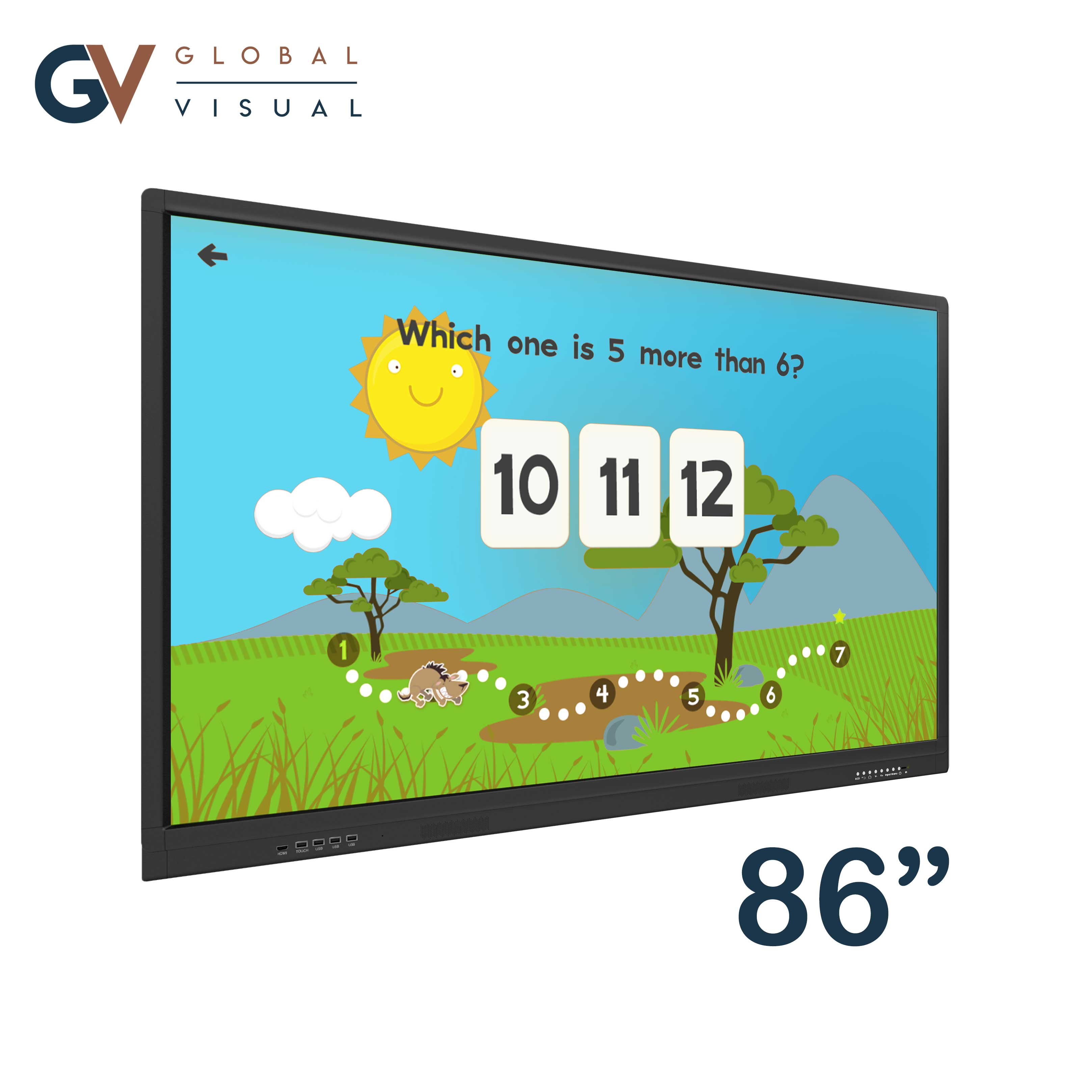 """Image of a 86"""" class room interactive touch display"""
