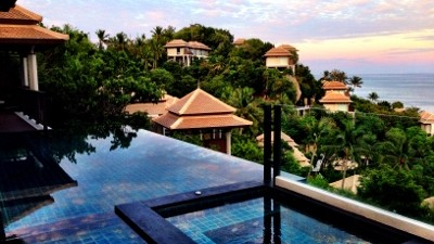 Our luxury villas were built into a hillside that looked out to the Gulf of Thailand with spectacular views.  This resort looks out to stunning vistas, private villas.  The Rainforest Spa Treatment is a one-of-a-kind experience, and the Thai cuisine is delicious - a perfect retreat!