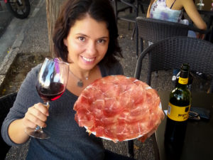 me with jamon and wine