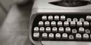 close up photo of gray typewriter