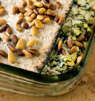 Nava Atlas's Spinach, Leek and Potato Matzo Gratin. Photo Credit: Susan Voisin