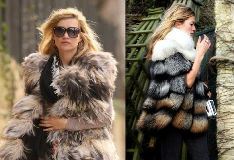 Kate Moss seems to rarely leave the house without wearing a fur coat. Photo Credit: studded-hearts.com/moodboard.typepad.com