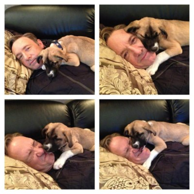 Kevin Spacey cuddling with his new puppy, Boston. Photo credit: Twitter