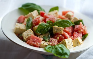 Try this delicious tofu feta, watermelon, and basil salad recipe. Photo Credit: lunchboxbunch.com