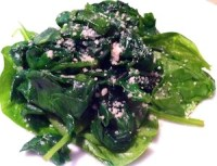 This saute spinach with garlic is has lots of antioxidants and cancer-fighting properties. Not just for Popeye anymore./Photo credit: Lisa Singer