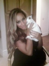 Grammy-nominated Leona Lewis with her rescued bunny Melrose. The singer donated her personal photo for a day of global #Be Cruelty-Free twitter action./Photo credit: Leona Lewis