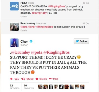 Cher's outspoken tweet to Ringling Bros. Photo Credit: Twitter