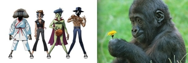 Virtual rock band Gorillaz (on left) and a baby gorilla (on right). Photo Credit: Billboard.com & Animal Space