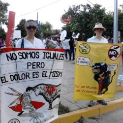 Members of La Union Animalista de La Laguna protesting outside a bullfight.