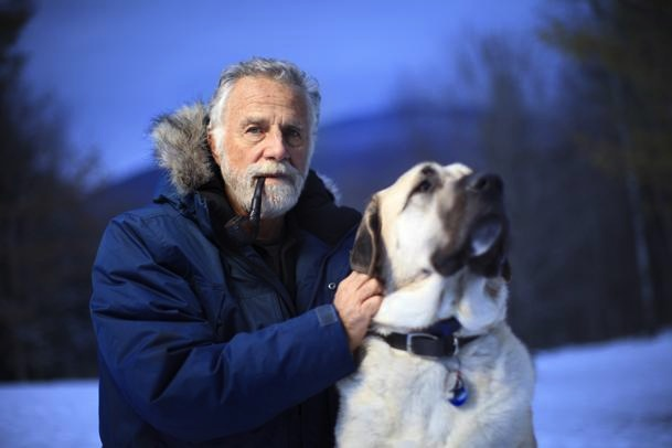 """Dos Equis' """"Most Interesting Man in the World"""" is aiding in the fight against canine cancer. Goldsmith, pictured with his Anatolian shepherd Willy, made an online commercial for Orvis Co to help raise money for the Morris Animal Foundation./Photo credit: Boston.com"""