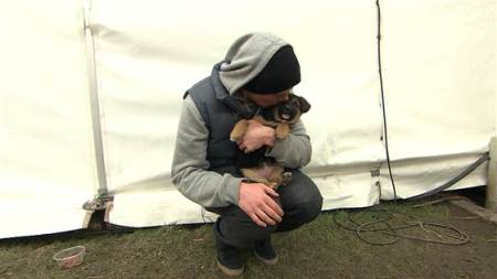 U.S. skier Gus Kenworthy, shown snuggling here with a puppy in Sochi, is working to adopt multiple stray puppies out of the many that have been roaming in Sochi./Photo credit: Today.com