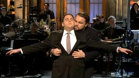 "Leonardo DiCaprio and his ""The Wolf of Wall Street"" co-star Johah Hill reenacted DiCaprio's famous scene from 'Titanic' when Hill hosted 'Saturday Night Live"" last month./Photo credit: nodallynews.com"