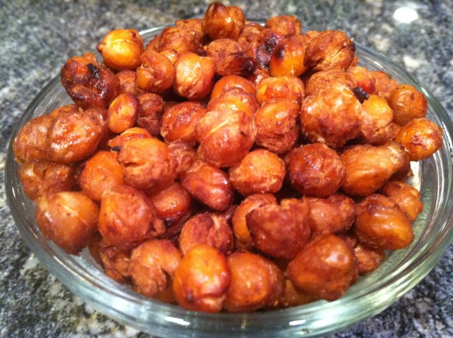 Skip the chips, instead indulge in roasted chickpeas, a low fat, high protein tasty snack alternative./Photo credit: Lisa Singer