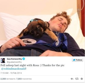 (DOGS/ANIMAL WELFARE) Olympic athlete Gus Kenworthy tweeted a pic of him with a Sochi puppy. Twitter @GusKenworthy