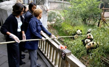 Michelle Obama feeds pandas during her visit to visit to Giant Panda Research Base in Chengdu, Sichuan province on March 26, 2014. Photo Credit: AP