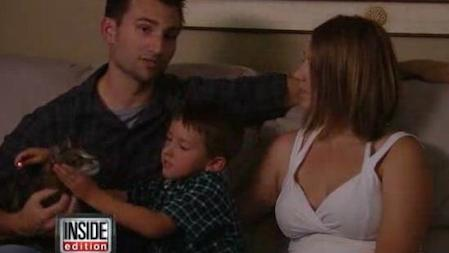 Erica and Roger Triantafilo with their son Jeremy and cat Tara at home in Bakersfield, CA./Photo credit: latimes.com