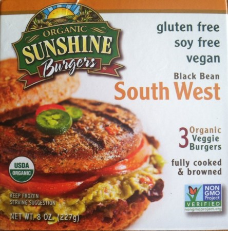 Organic Sunshine Burgers are soy free, gluten free and vegan. They come in a variety of flavors including barbecue, garden herb, shitake mushroom and black bean South West (as pictured above.)/Photo credit: Lisa Singer